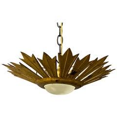 Gilt Metal Sunburst Ceiling Fixture with Convex Opaline Globe