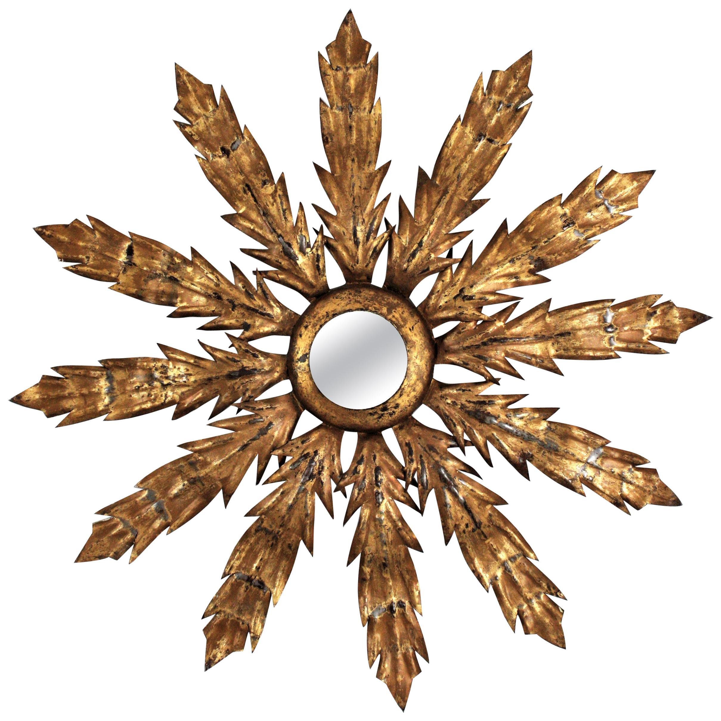 Gilt Metal Sunburst Flower Wall Mirror, 1950s