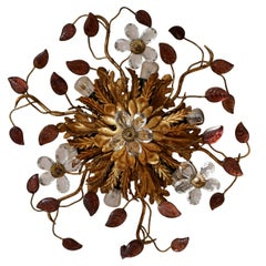 Gilt Metal Sunburst Flush Mount Light or Sconce, Italy