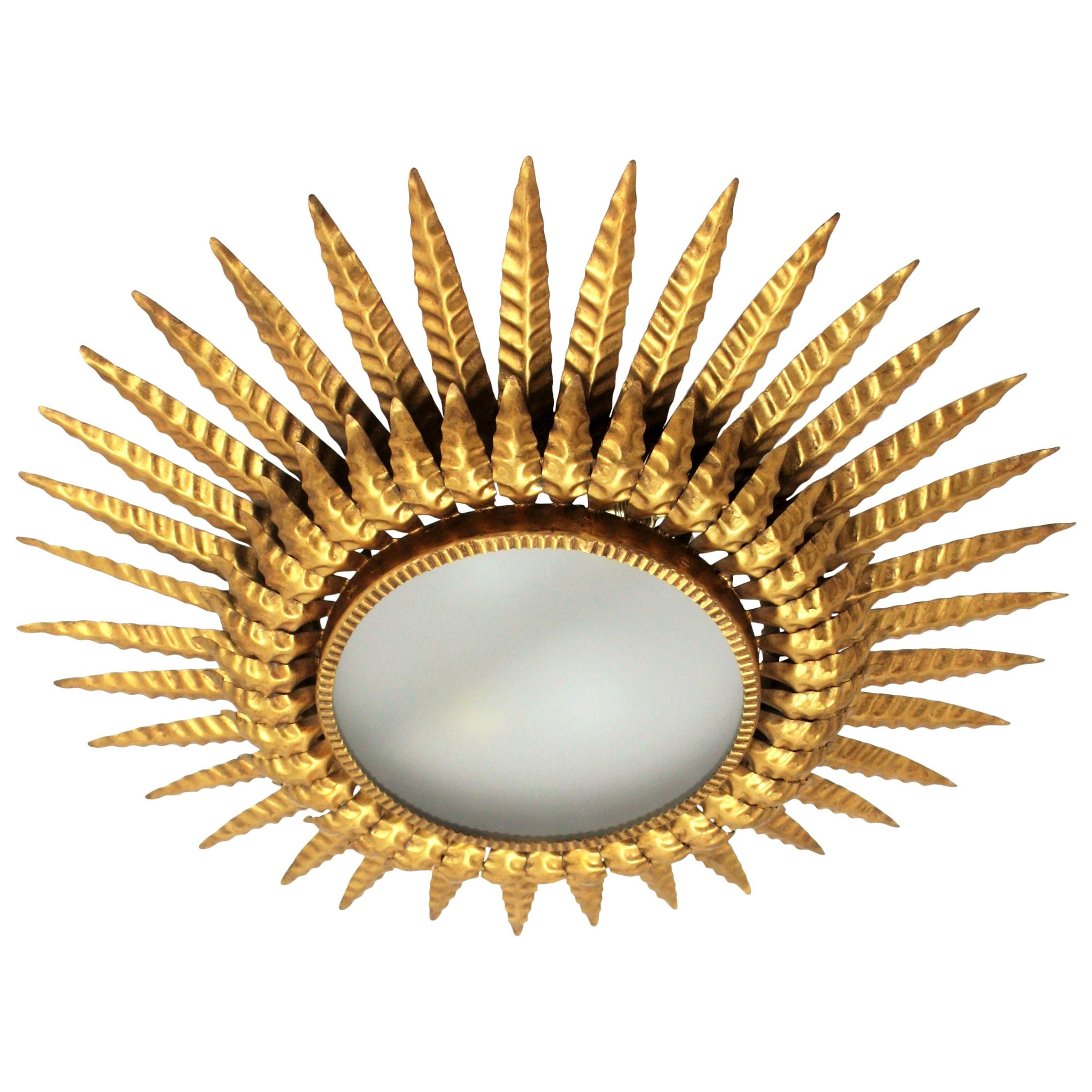 Sunburst Flush Mount, Wall Light or Mirror, Gilt Metal and Frosted Glass