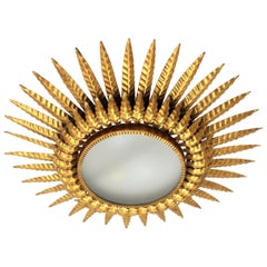 Gilt Metal Sunburst Flush Mount or Wall Light with Frosted Glass Shade