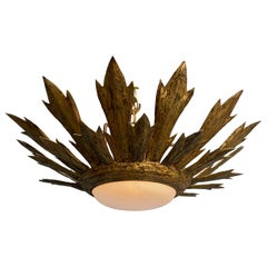 Gilt Metal Sunburst Flushmount Ceiling Fixture