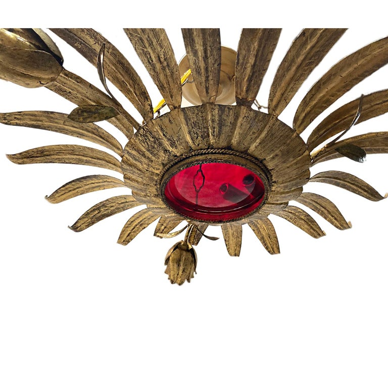 Gilt Metal Sunburst Light Fixture with Ruby Glass Inset In Good Condition For Sale In New York, NY