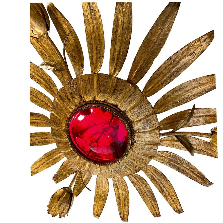 Gold Leaf Gilt Metal Sunburst Light Fixture with Ruby Glass Inset For Sale