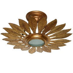 Gilt Metal Sunburst Light Fixture