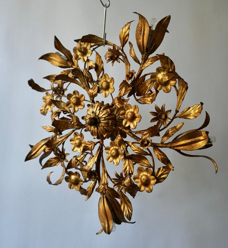 A circa 1950s Italian gilt metal sunburst shaped light fixture with tulip five-light. The exquisite quality of this piece showcases the masterful skills of Ciani's craftsmen and offer an elegant sense of movement to any ceiling or wall.   Bulb