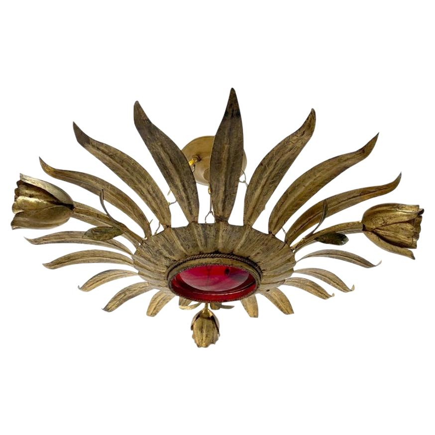 Gilt Metal Sunburst Light Fixture with Ruby Glass Inset