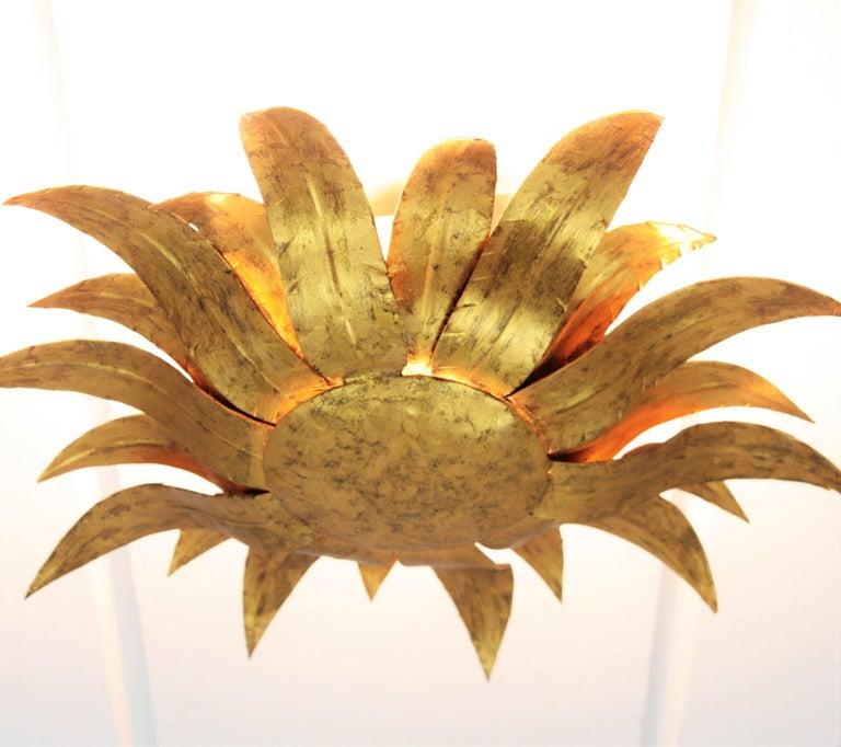 Gilt Metal Sunflower Sunburst Wall Sconce or Ceiling Light Fixture, Spain, 1960s For Sale 4