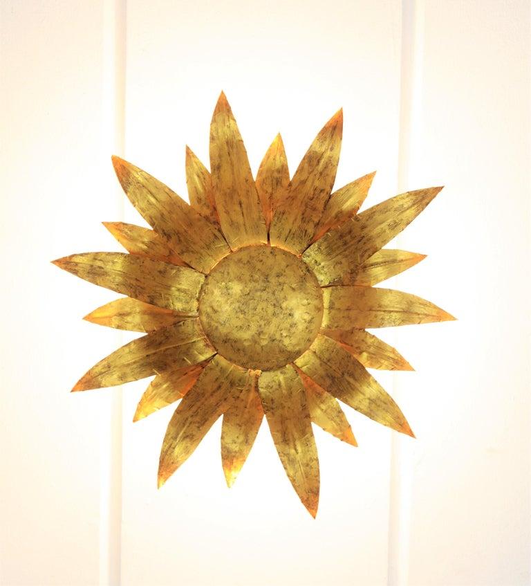Gilt Metal Sunflower Sunburst Wall Sconce or Ceiling Light Fixture, Spain, 1960s For Sale 5