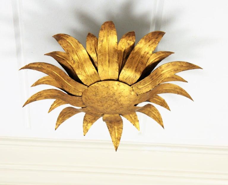 Spanish Gilt Metal Sunflower Sunburst Wall Sconce or Ceiling Light Fixture, Spain, 1960s For Sale