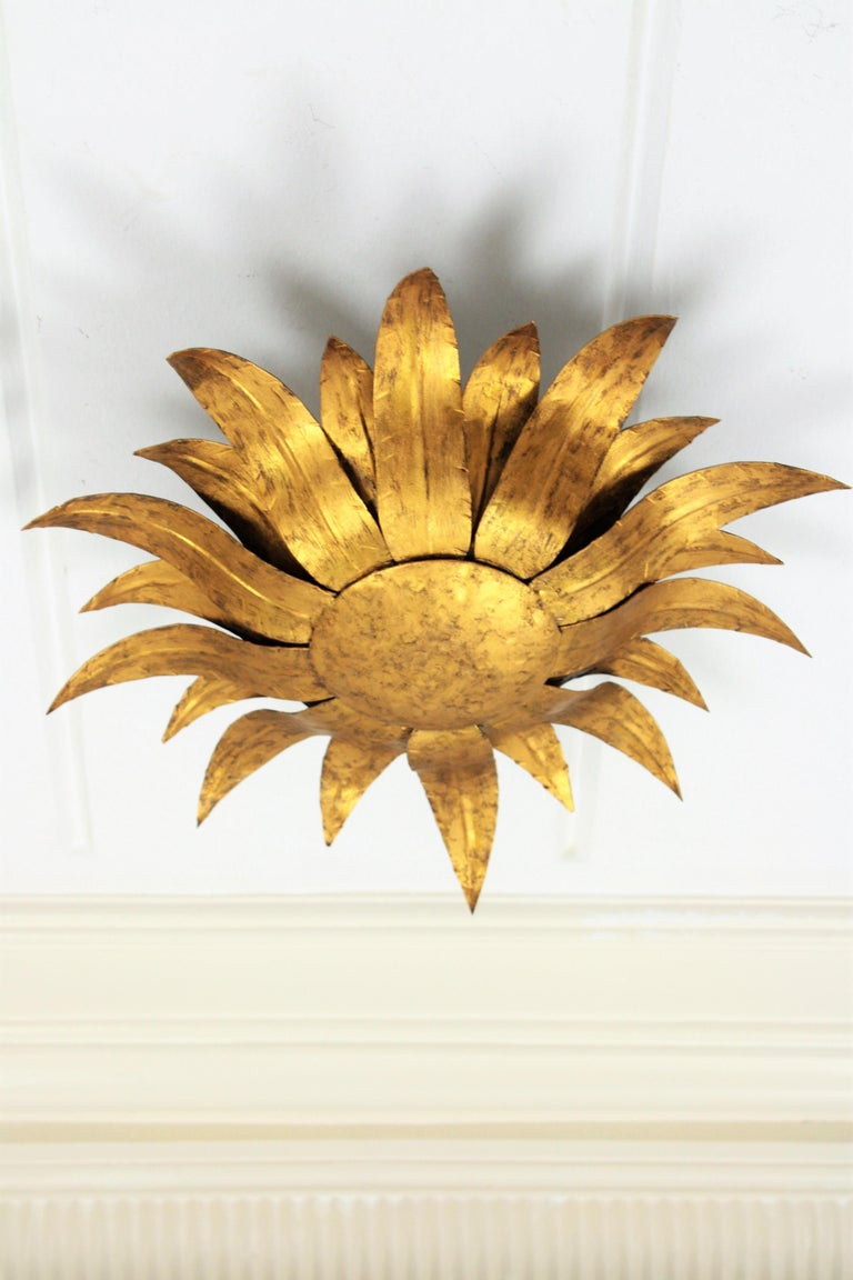 Hand-Crafted Gilt Metal Sunflower Sunburst Wall Sconce or Ceiling Light Fixture, Spain, 1960s For Sale