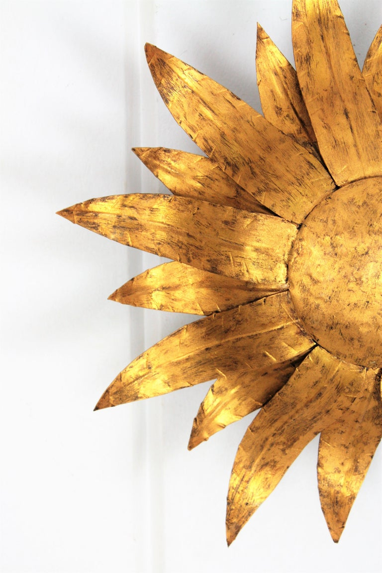 Gilt Metal Sunflower Sunburst Wall Sconce or Ceiling Light Fixture, Spain, 1960s In Excellent Condition For Sale In Barcelona, ES