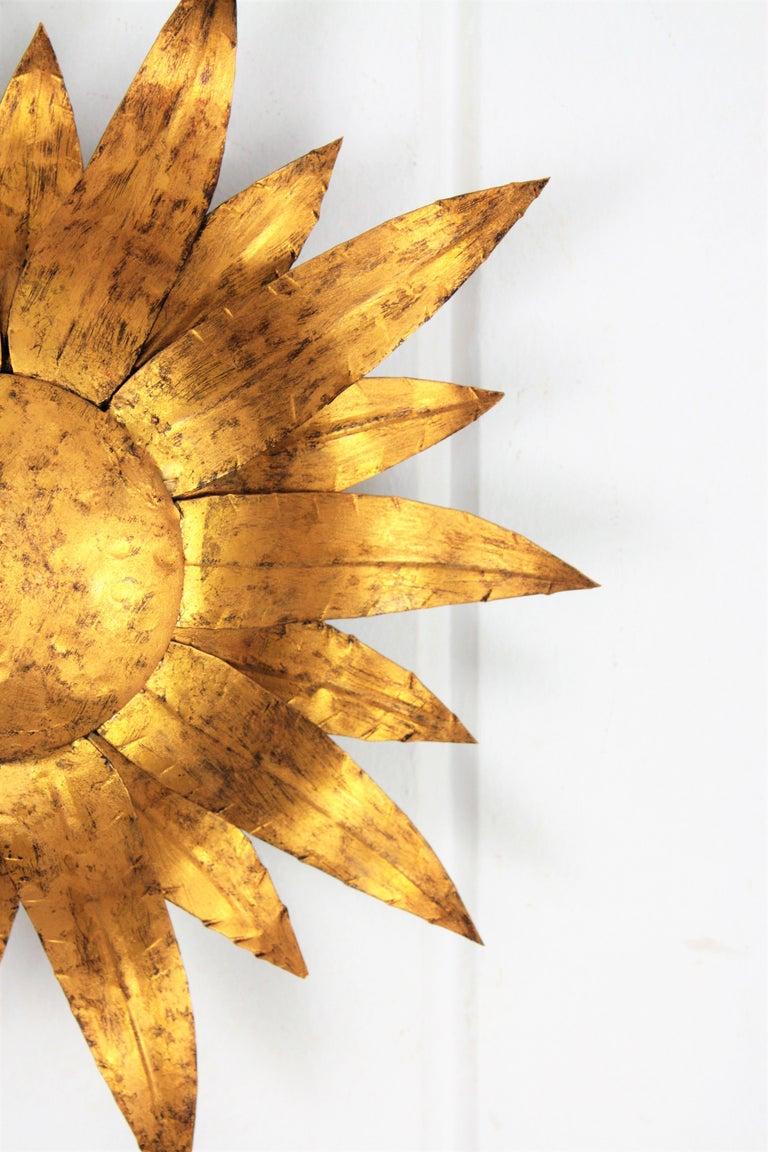 Mid-20th Century Gilt Metal Sunflower Sunburst Wall Sconce or Ceiling Light Fixture, Spain, 1960s For Sale