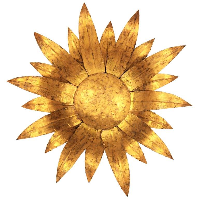 Gilt Metal Sunflower Sunburst Wall Sconce or Ceiling Light Fixture, Spain, 1960s For Sale