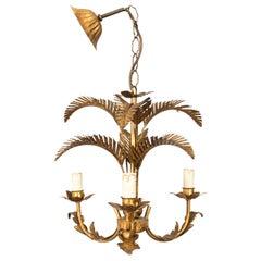 Gilt Metal Three-Light Palm Leaf Chandelier