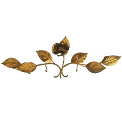 Gilt Metal Tole Rose Flower Key Hanger Wall Decoration, Italy Vintage, 1950s