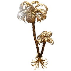 Gilt Metal Two-Trunk Palm Tree Floor Lamp by Hans Kögl, Made in Germany, 1970s