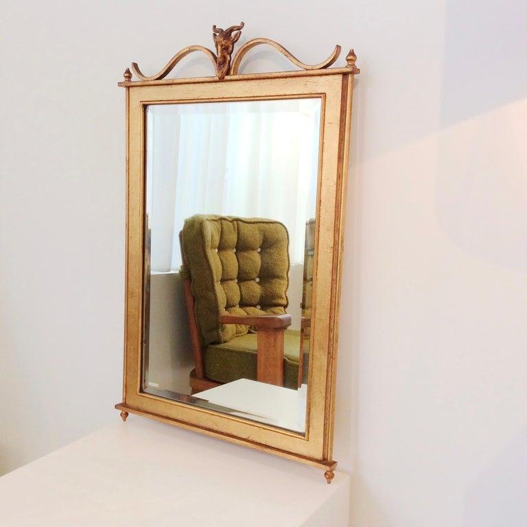 Mid-Century Modern Gilt Metal Wall Mirror, France, circa 1940 For Sale