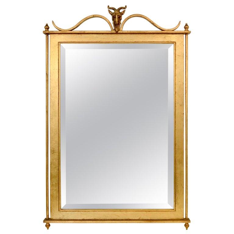 Gilt Metal Wall Mirror, France, circa 1940 For Sale