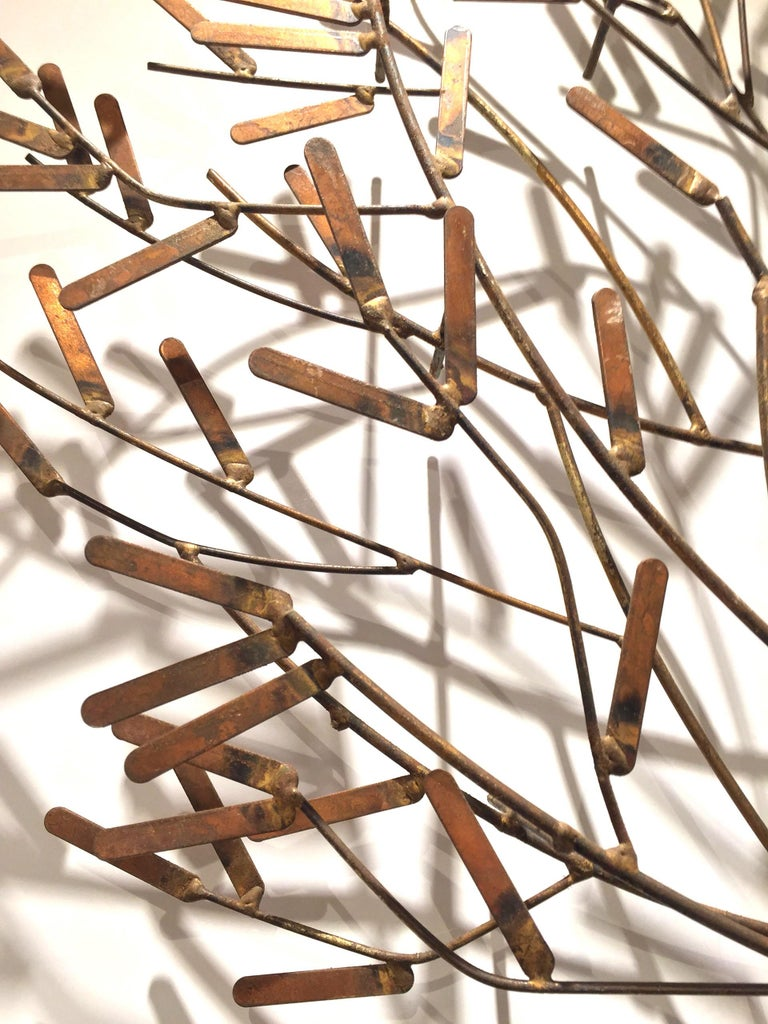 American post-war design gilt metal wall sculpture of a stick tree (signed by William Bowie), circa 1970s   William Bowiewas a sculpture artist based inNew York Cityfrom 1954 to 1994. He is best known for his works using welded gold leaf steel