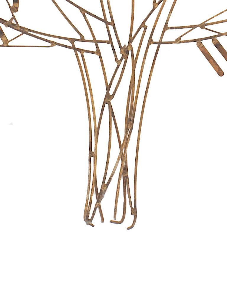 Mid-Century Modern Gilt Metal Wall Sculpture of a Stick Tree by William Bowie For Sale