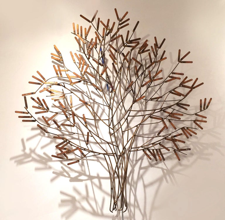 American Gilt Metal Wall Sculpture of a Stick Tree by William Bowie For Sale