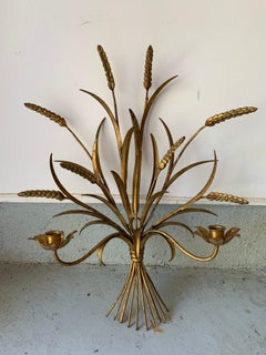Gilt Metal Wheat Sheaf & Reed Wall Mount Candle Sconces, a Pair