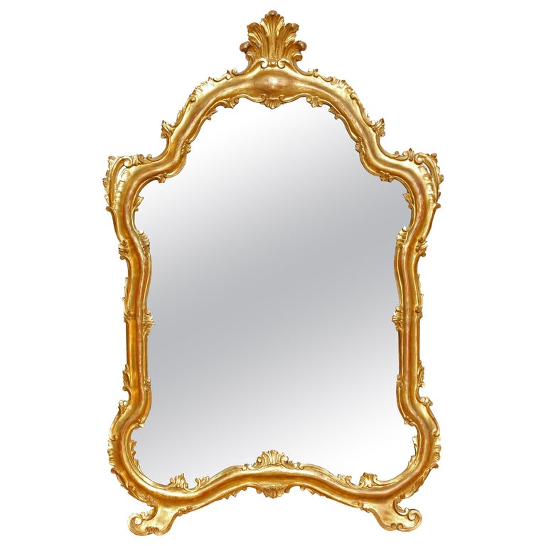 Gilt Mirror Large Italian Carved Wood