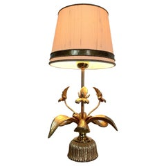 Gilt Orchid Table Lamp, Belgium, 1970s