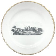 Gilt Painted Black and White Tucker Plate