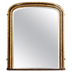 Gilt Painted Overmantle Mirror with Simulated Walnuts & a Bevelled Mirror Plate