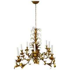 Gilt Palm Leaf Regency Chandeliers 2 Available