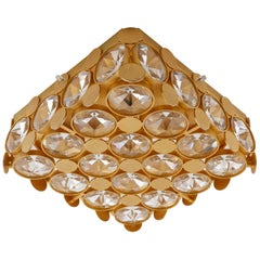 Gilt Palwa Flush Mount Light Fixture or Sconce Wall Light, Crystal Glass, 1970