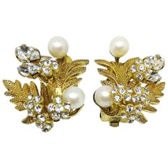 Gilt, paste and pearl foliate cluster earrings, Henkel and Grosse for Dior, 1968