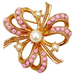 Gilt & Pastel Pink Rhinestone Bow Brooch With Pearl Accents By Hollycraft, 1950s