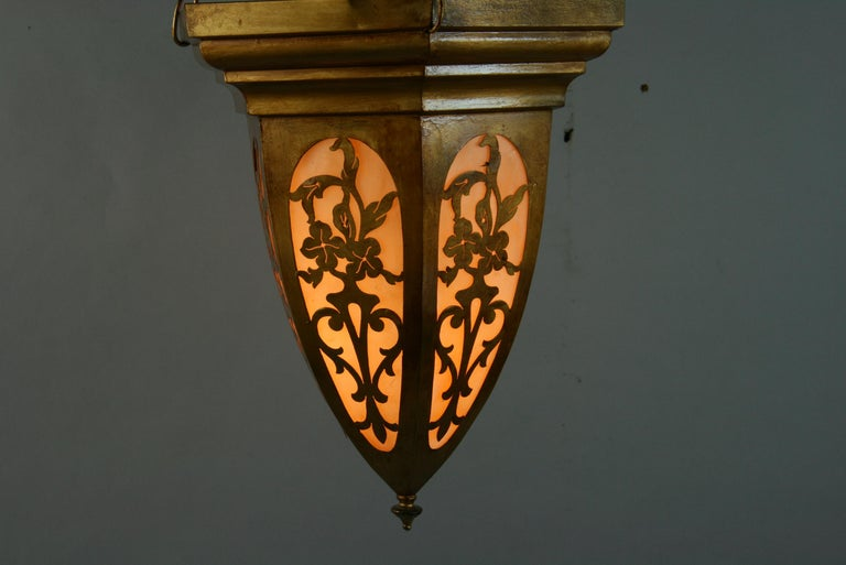 Gilt Pierced Metal Bent Glass Pendant, 1940's In Good Condition For Sale In Douglas Manor, NY