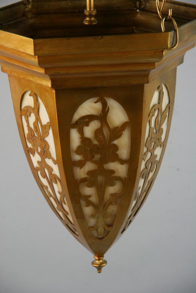 Gilt Pierced Metal Bent Glass Pendant, 1940's For Sale 1