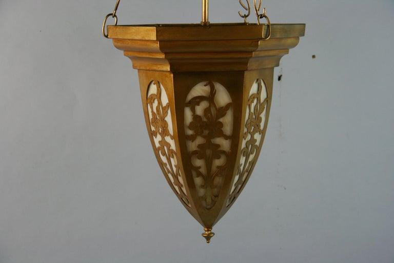 Gilt Pierced Metal Bent Glass Pendant, 1940's For Sale 2