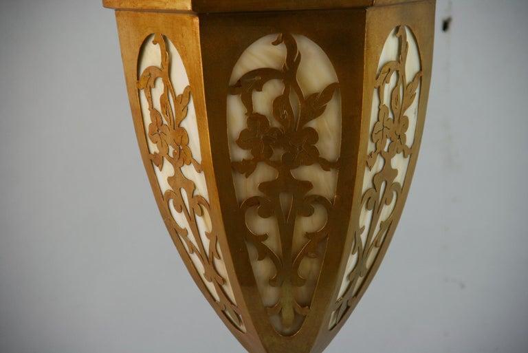 Gilt Pierced Metal Bent Glass Pendant, 1940's For Sale 4