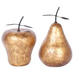 Gilt Porcelain Apple and Pear