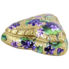 Gilt Porcelain Box with Enamel Painted Violets Art Nouveau, Austria, circa 1900
