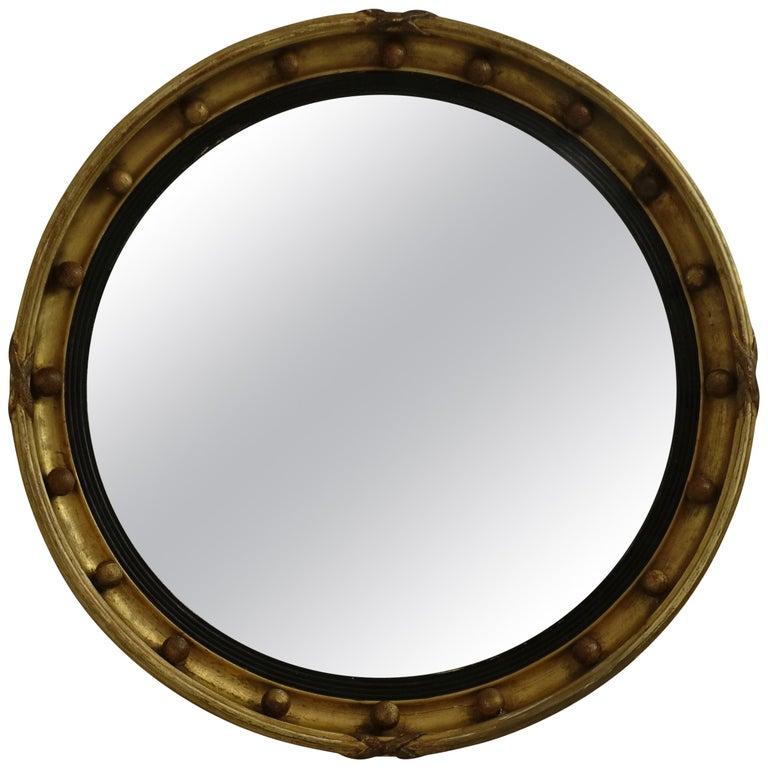 Gilt Regency Convex Mirror English Circa 1840 For Sale