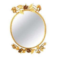 Gilt Rose Flower Mirror Hollywood Regency Mirror, Toleware Tole Wall Decoration