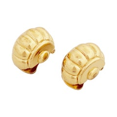 Gilt Scalloped Dome Earrings By Vogue Bijoux, 1980s
