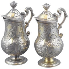 Gilt Silver Cruet Set, Pamplona Hallmarks, Spain, 18th Century
