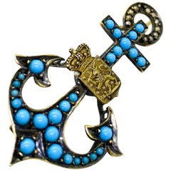 Gilt Silver Russia/Finland Turquoise Pearls Anchor Brooch