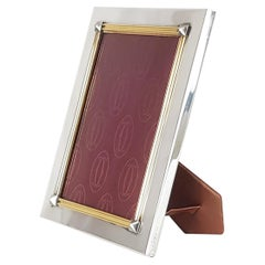 Gilt Sterling Silver & Leather 1980s Picture Frame by Cartier