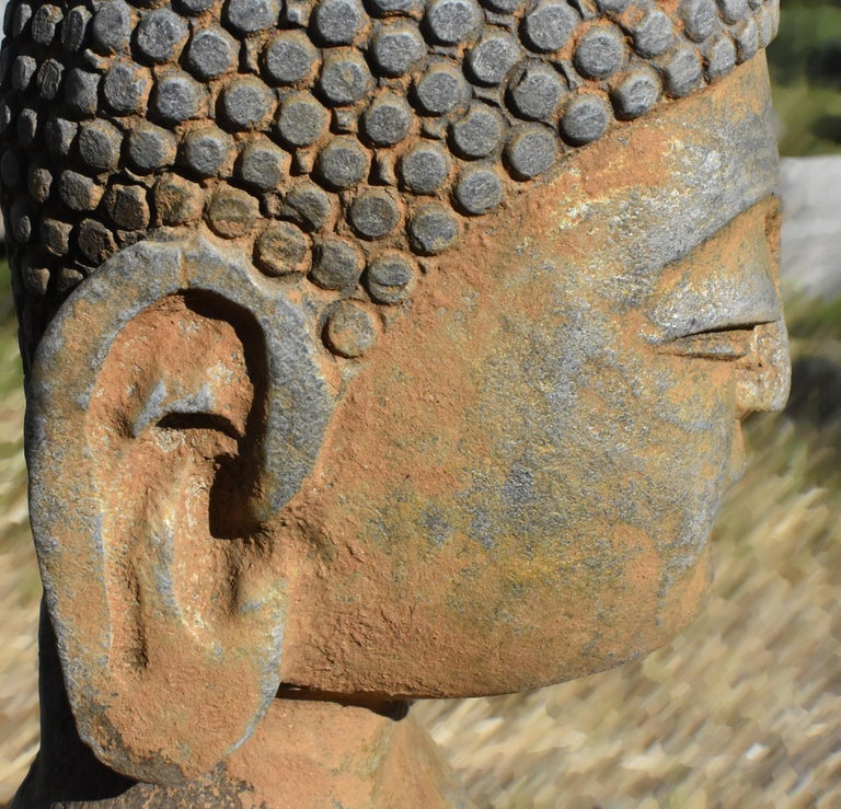 Solid Stone Buddha Statue Holding a Pearl Hand Carved For Sale 5