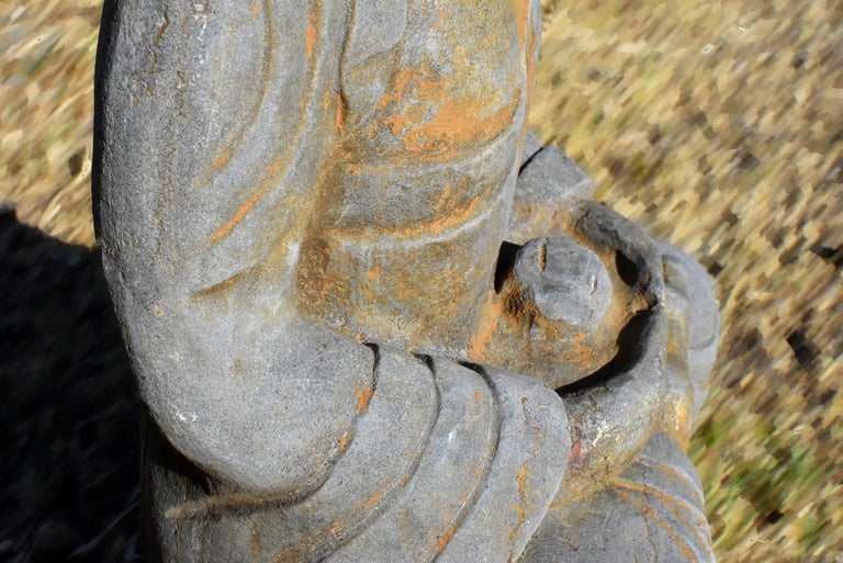 Solid Stone Buddha Statue Holding a Pearl Hand Carved For Sale 6