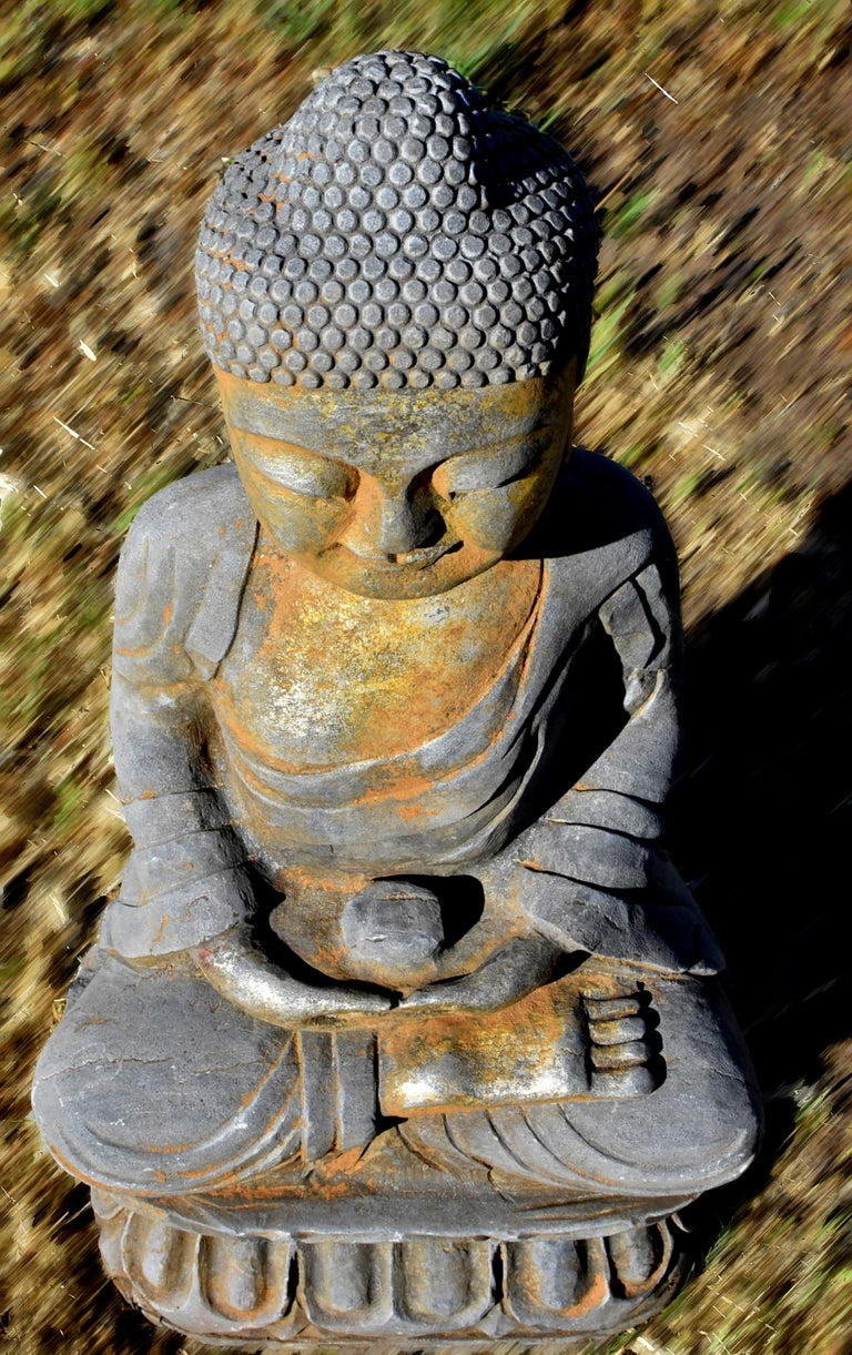 Solid Stone Buddha Statue Holding a Pearl Hand Carved For Sale 7